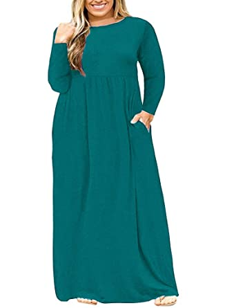 POSESHE Women s Plus Size Long Sleeve Plain Maxi Dresses Casual Long Dresses  with Pockets fdf42900e