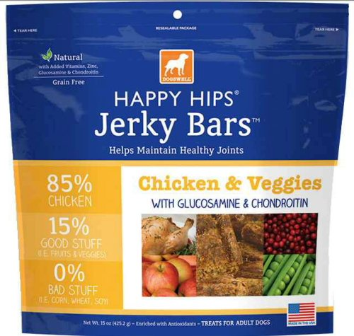 Dogswell HAPPY HIPS Jerky Bars Chicken & Veggie 15oz - Dogswell Happy Hips Chicken