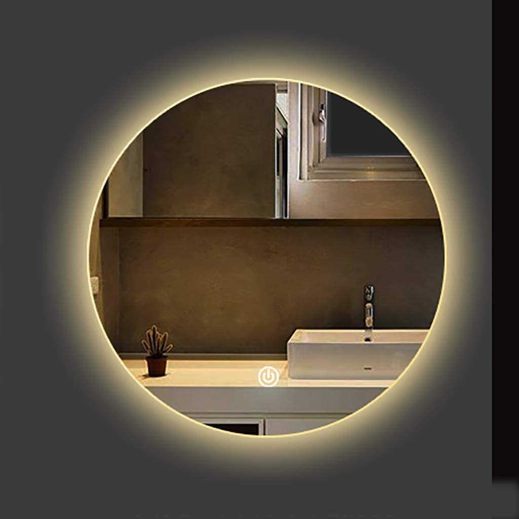 Amazon Com Round Backlit Led Illuminated Bathroom Mirror Led Lighted Shaving Mirror White Warm Light Hotel Bedroom Living Room Φ 50 60 70 80cm Home Kitchen