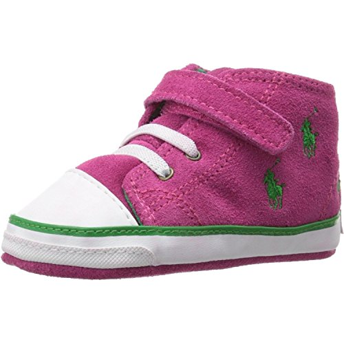 Ralph Lauren Layette Bal Harbour Cap Toe Repeat High Top (Infant/Toddler), College Pink Suede, 3 M US Infant
