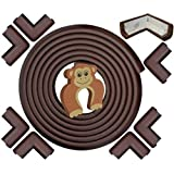AZAMA Baby Proofing Edge Protector Safety Corner Guards   6 Meter + 8 Corner + Door Stopper (Extra Large Thick, Brown)