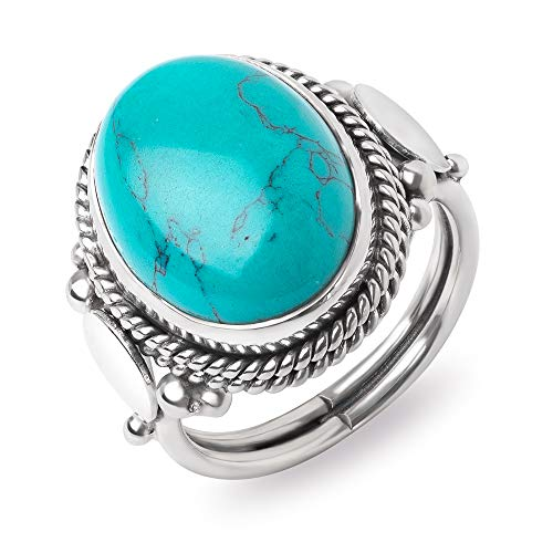 SUVANI Sterling Silver Reconstituted Turquoise Oval Shaped Double Rope Edge Vintage Band Ring Size 8