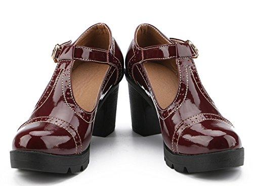 Women's Platform Oxfords Classic Square Red Dress Mid T Strap Heel Toe DADAWEN Shoes Zqdwxd