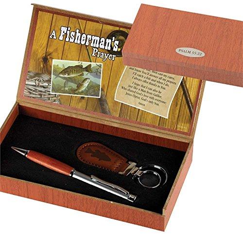 Fisherman's Prayer 2 Piece Metal Woodgrain Ballpoint Pen and Leatherette Keychain Gift Boxed Set