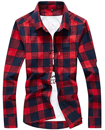 Domple Mens Flannel Plaid Slim Fit Long Sleeve Button Down Shirts Red US L (Plaid Shirt Red L/s)