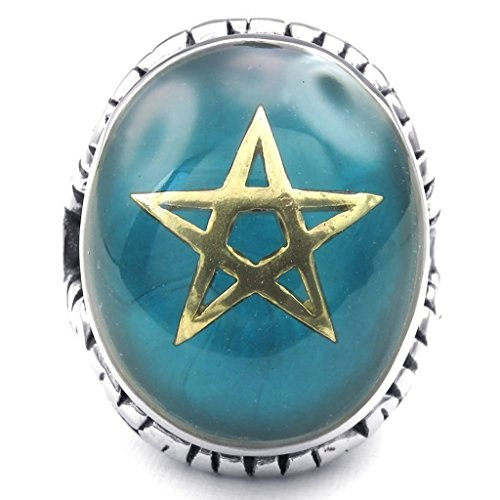 Beydodo Stainless Steel Ring (Punk Bands) Pentagram Goat Blue Golden Silvery Baphomet Size 13 For Men