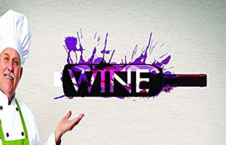 Design with Vinyl RAD 684 3 Colorful Wine Bottle Design Vinyl Wall Decal 20 x 30 As Seen