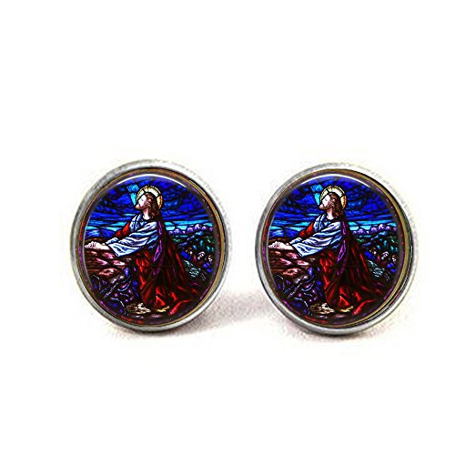 lukuhan Jesus Christ Praying Stained Glass Holy Cross Charm Earrings