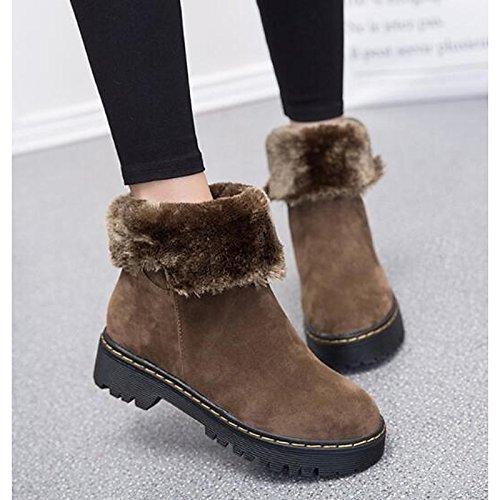 piatta Black stivali nero vera Boots Calf marrone donna Mid Snow Autunno HSXZ Inverno Toe Casual rotonda per Scarpe stivali pelle AWwxqnHvf