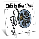 3dRose dc_102536_1 This is How I Roll Movie Film Tape Design-Desk Clock, 6 by 6-Inch