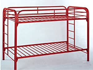 twin tiwn bunk bed in red metal ads8019 kitchen dining. Black Bedroom Furniture Sets. Home Design Ideas