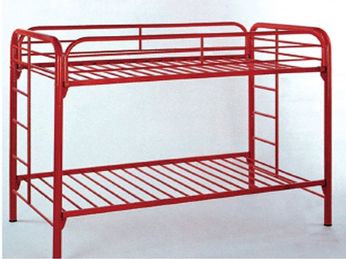 Twin / Tiwn Bunk Bed in Red Metal ()