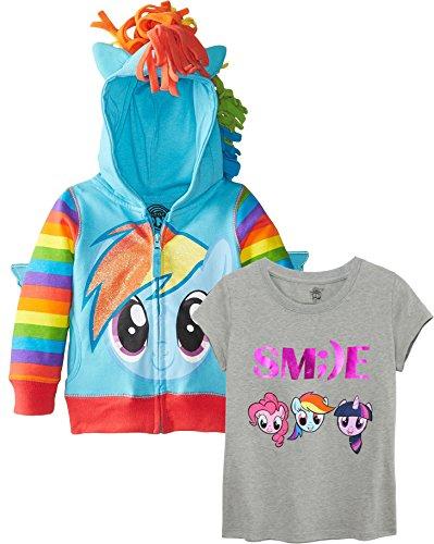 My Little Pony Big Girls' Rainbow Dash Hoodie, Rainbow Smile Set, (My Little Pony Outfit)