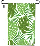 Rikki Knight Tropical Green Leaves Seamless Design Design Decorative House or Garden Flag 12 x 18 inch full bleed (Proudly Printed in the USA)