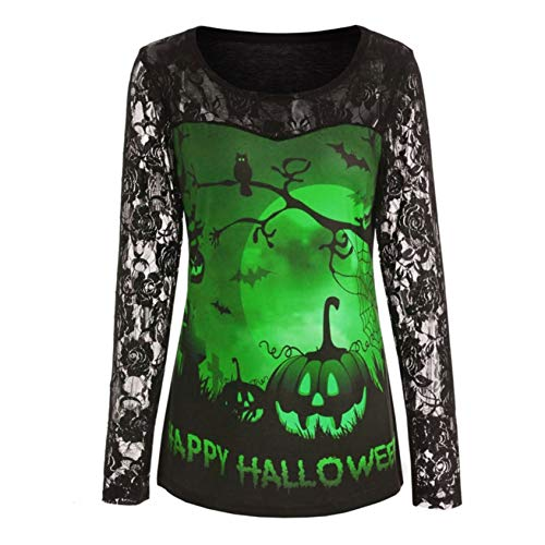 Top 15 Halloween Costumes 2019 (Halloween for Women Costume 2019 Blouse Tops Long Sleeve Wear Shirt 2019 Sweatshirts Costumes Maternity Outfit Round Neck Pullover Green)