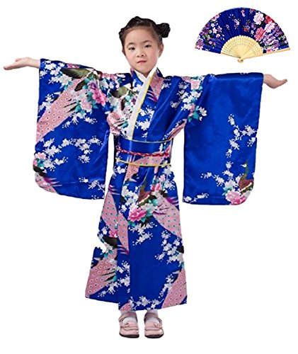Mother And Daughter Fancy Dress Costumes (CRB Girls Kimono Japanese Costume Gown Outfit Dress 4 Piece Set (Height 150cm, Blue))