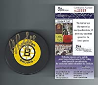 Raymond Bourque Signed Boston Bruins Trench Puck Authenticated - JSA Certified - Autographed NHL Pucks