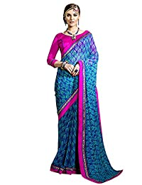 Shonaya Women`S Blue Colour Georgette Printed Saree with Unstitched Blouse Piece