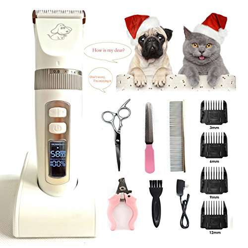 2.0 Dog Coat - Dog Grooming Clippers Cordless Quiet Rechargeable Dog Grooming Kit for Thick Coats, Heavy Duty, Cats, Horse Professional Dog Hair Trimmer with 4 Combs, Guides, 2 Scissors, Nail Kits