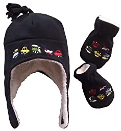 N\'Ice Caps Boys Sherpa Lined Micro Fleece Embroidered Hat and Mitten Set (6-18 months, Infant - Black)