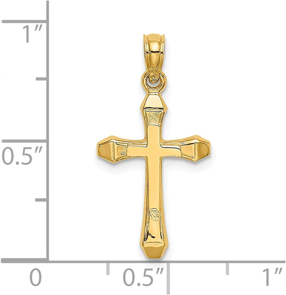 FB Jewels 14K Yellow Gold Cross High Polish and Engraved Pendant