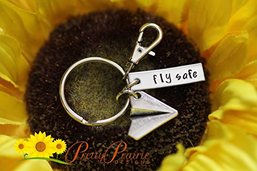 Fly Safe - Travelers Gift - Traveling Keychain - Farewell - Pilot's Gift - Stewardess Present - Airplane Charm - Long Distance Keychain