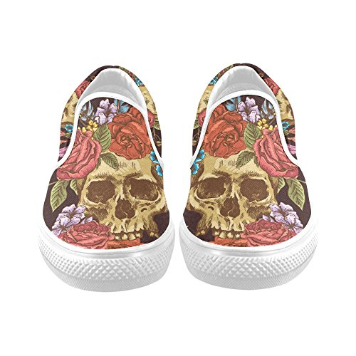 D-story Custom Schedel Heren Instappers Canvas Fashion Sneaker