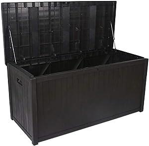 woyaochudan Bike Storage Box Plastic Bin Shed Black Wooden Durable Plastic PP Storage Container Box Garden Outdoor Waterproof Bench Store