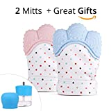 Baby Teething Mitten | BPA Free Teething Toys for Babies | Self-Soothing Pain Relief | Boys - Girls Glove | Non Toxic Massage Teether | Ideal Baby Shower Gift (2 Packs and Handy Gift) (Blue)