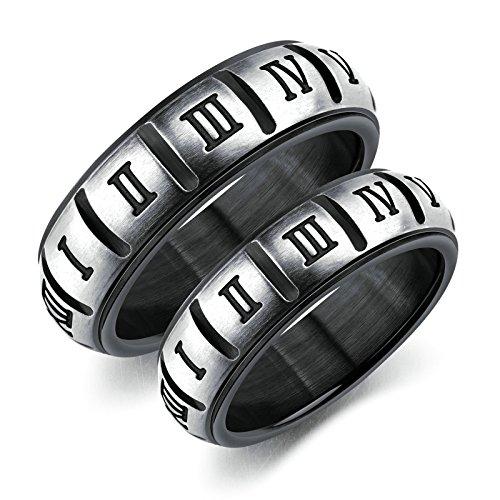EoCot Stainless Steel 1 Pair Roman Numerals Couples Ring for Men Women Engagement Wedding Bands Women Size 5 & Men Size 7 ()