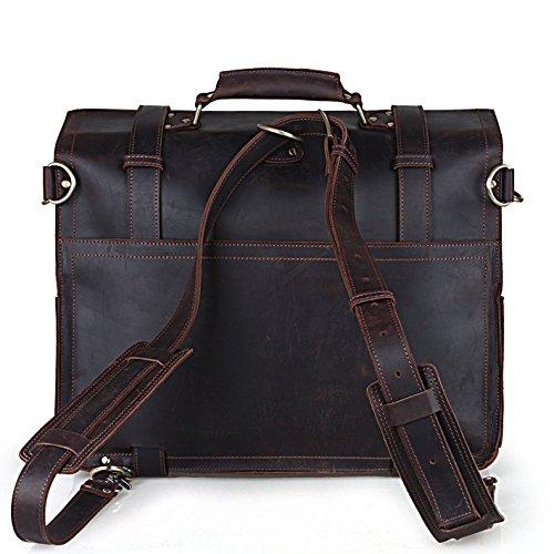 BAIGIO Vintage Leather Luggage Backpack Briefcase Travel Carryon Shoulder Bag (Dark Brown) by BAIGIO (Image #1)