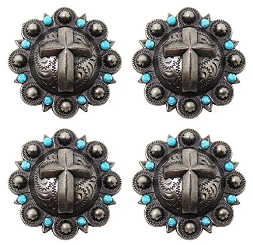 CHALLENGER LOT of 4 Conchos Rhinestone Horse Saddle Western Bridle Headstall Cross Co391