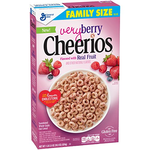 - Cheerios Very Berry Cereal Box, 18.5 oz
