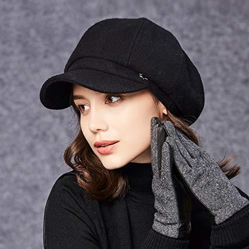 Nj Negro Octagonal Invierno Moda Lana Mujer Gorra color Negro 5cm Cálida 57 Pintor Coreana Sombrero Tamaño Sombrero r7wqrF