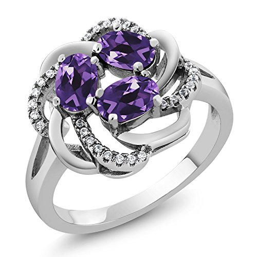 (925 Sterling Silver Purple Amethyst Women's Ring 1.42 Ct Oval Gemstone Birthstone (Available 5,6,7,8,9) (Size 9))