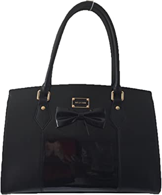 Ladies Designer Fashion Handbags New Patent Leather Two-Tone Bow Front Tote Bags