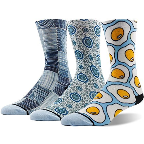 Womens Bacon Dress (Novelty Socks Women, Ristake Happy Cool Luxury Art Painting Fashionable Food Bacon and Egg Crew Dress Socks 3 Pairs for Halloween Thankgiving Christmas, Multicolour)