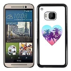 TopCaseStore / la caja del caucho duro de la cubierta de protección de la piel - Palms Florida Heart Teal White - HTC One M9