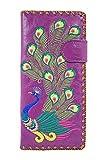Lavishy Sacred Peacock Embroidered Large Wallet (Purple)