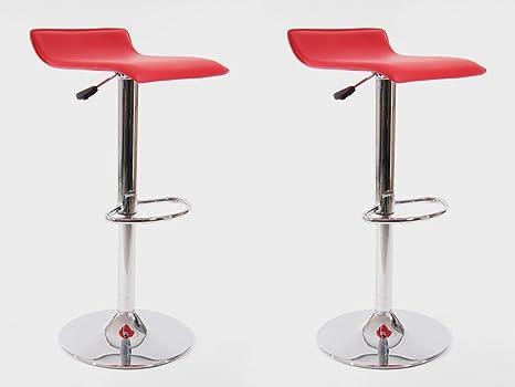 2x sgabello da bar rosso finta pelle regolabile in altezza: amazon