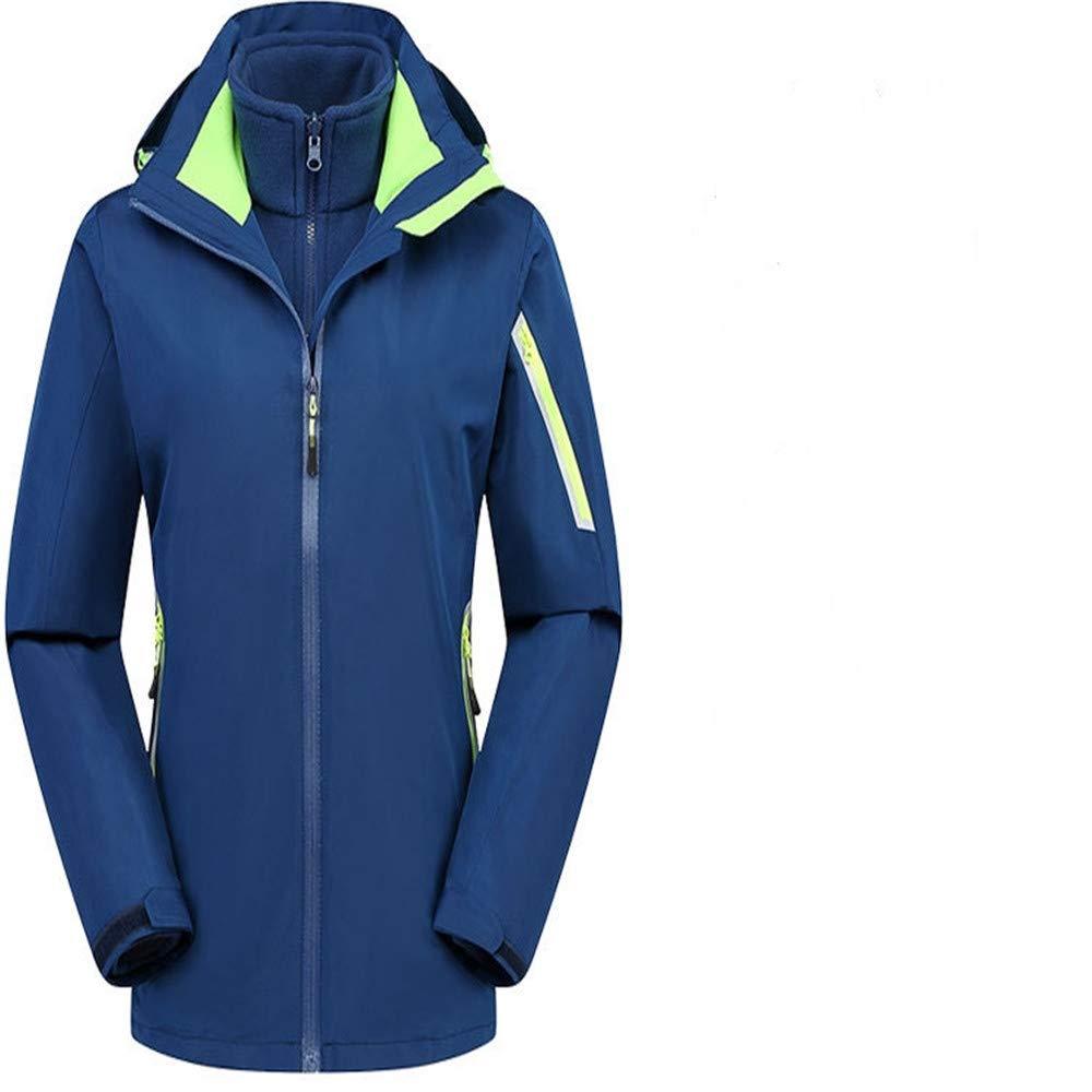 bleu1 L AiNaMei Vestes d'extérieur pour Femmes et Costumes de Ski en Velours Chaud et Coupe-Vent Coupe-Vent