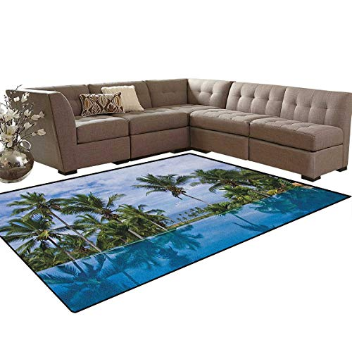 (Landscape,Carpet,Infinity Pool with Palms Reflections and Crystal Water Tropic Resort Photo,Indoor/Outdoor Area Rug,Blue Green White Size:6'x8' )
