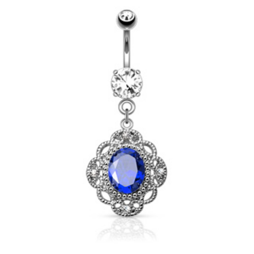 Oval CZ Centered Tribal Floral Design 316L Surgical Steel Freedom Fashion Belly Button Rings
