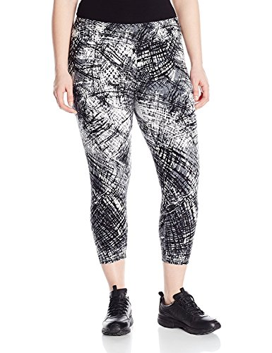 私たちの進行中有益なMarc New York Performance Women's Plus Size All Over Printed Capri Length Legging Grey Spokes 1X [並行輸入品]