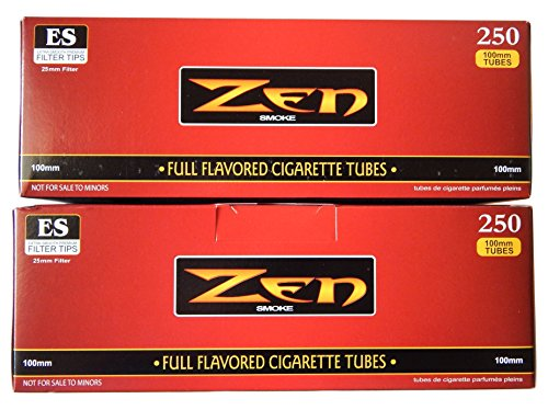 100's Cigarettes (ZEN 100mm Full Flavor Cigarette Tubes -2 pack, 250 ct per box)
