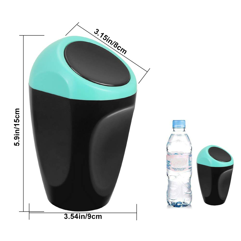PERFETSELL Car Garbage Trash Can 5.9 3.15 Plastic Garbage Bin Auto Car Trash Rubbish Can  Multi-Function Mini Spring Cover Garbage Box for Car//Office//Home Blue+Black
