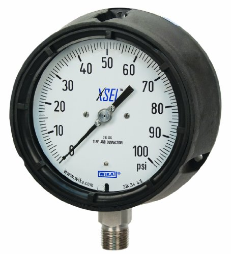 WIKA 9834112 Process Pressure Gauge, Liquid-Filled, Stainless Steel 316L Wetted Parts, 4-1/2