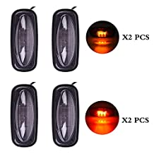 partszone 4pcs Led ID Bar Light & Smoked LED Fender Bed Side Marker Lights Set For Dodge RAM 2500 3500 HD Truck (2 x Amber, 2 x Red)