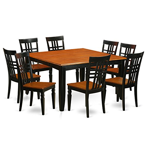 East West Furniture PFLG9-BCH-W 9 Piece Kitchen Table Set with One Parfait Dining Table and 8 Dining room Chairs in Black & Cherry Finish
