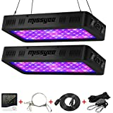 600W LED Grow Light, Missyee 2-Pack Full Spectrum Plant Light with UV/IR, Thermometer Humidity Monitor and Adjustable Rope, Veg & Bloom Double Switch Grow Lamp, for Indoor Plants Veg Flower